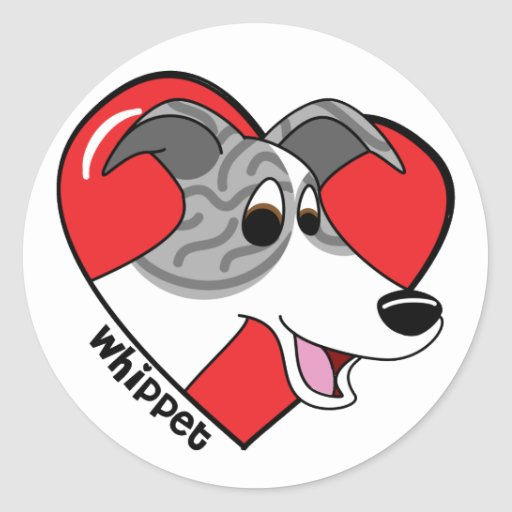 Amor del dibujo animado I mi Whippet Etiqueta Redonda