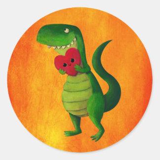 Amor del dinosaurio de RAWR Pegatina Redonda