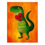 Amor del dinosaurio de RAWR Postal