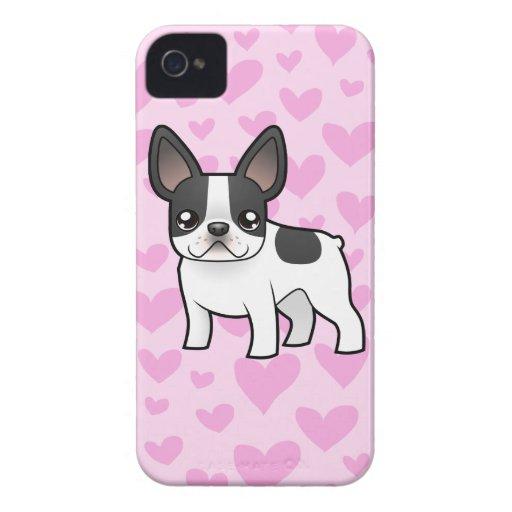 Amor del dogo francés iPhone 4 Case-Mate fundas