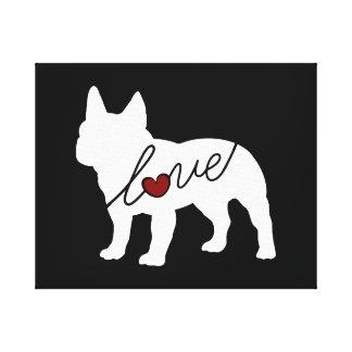 Amor del dogo francés lienzo envuelto para galerías