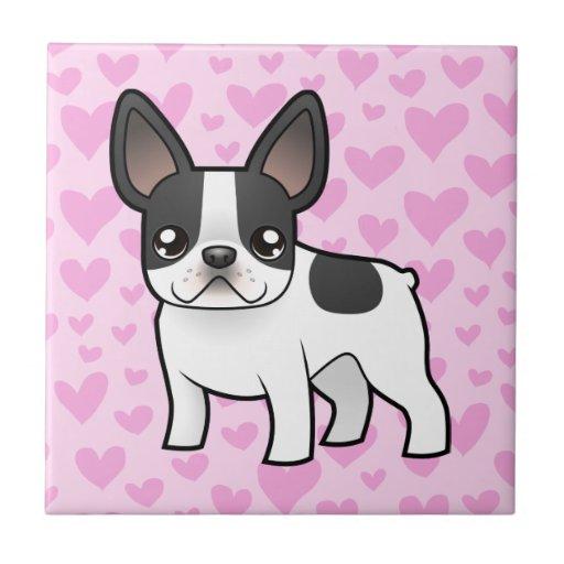 Amor del dogo francés teja cerámica