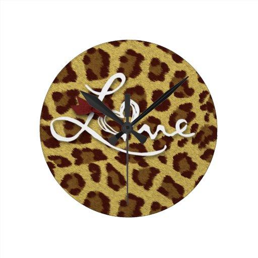 Amor del el día de San Valentín del guepardo Reloj De Pared