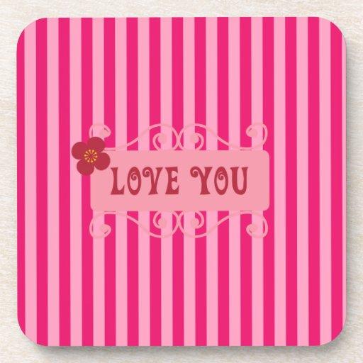 Amor del el día de San Valentín usted regalos rosa Posavasos De Bebida