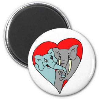 Amor del elefante imán de frigorifico