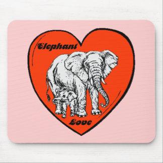 Amor del elefante alfombrillas de ratón