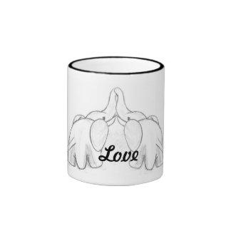 Amor del elefante tazas de café