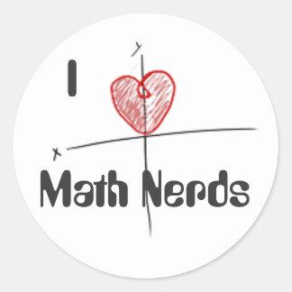 Amor del empollón de la matemáticas de Cartioid Pegatina Redonda