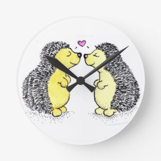 Amor del erizo, hora para el amor reloj redondo mediano