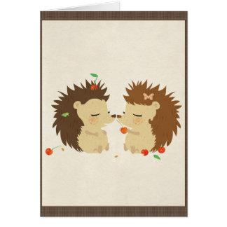 Amor del erizo (tarjeta de la mirada II) Tarjeta Pequeña