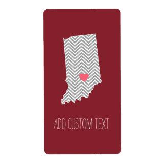 Amor del estado de origen de Indiana con el Etiquetas De Envío