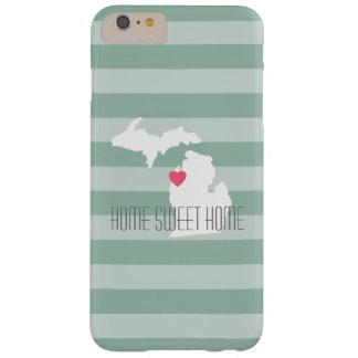 Amor del estado de origen del mapa de Michigan con Funda De iPhone 6 Plus Barely There
