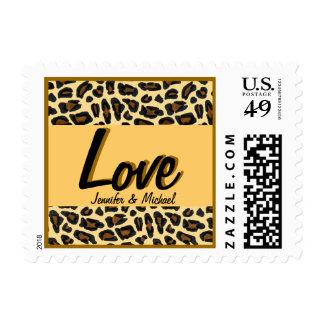 Amor del estampado leopardo sellos