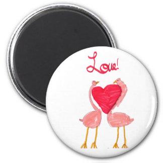 Amor del flamenco imán redondo 5 cm
