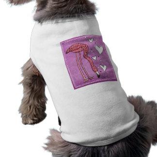 amor del flamenco playera sin mangas para perro