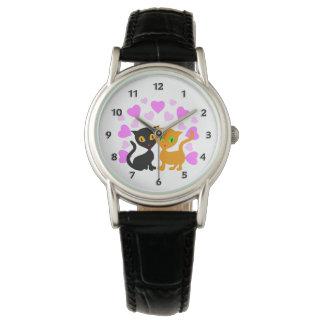 Amor del gatito relojes de pulsera