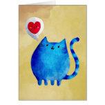 Amor del gato azul del gatito felicitación