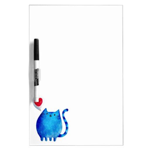 Amor del gato azul del gatito tablero blanco