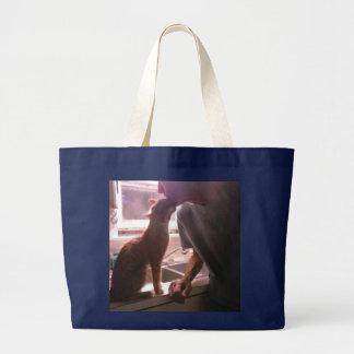 Amor del gato bolsa de tela grande