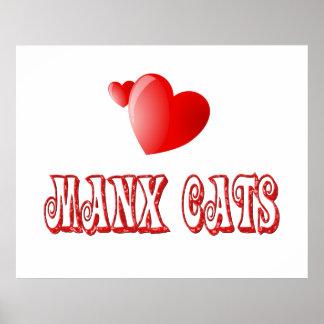 Amor del gato de la Isla de Man Posters