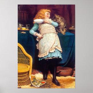 Amor del gato del gatito - pintura del vintage - póster