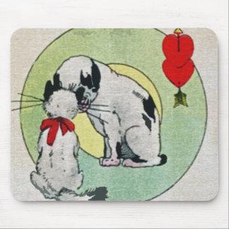 Amor del gato del vintage alfombrillas de raton