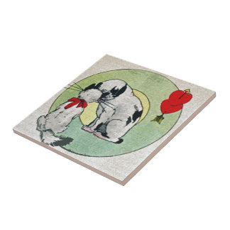 Amor del gato del vintage azulejos ceramicos