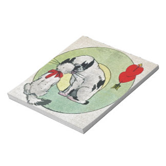 Amor del gato del vintage bloc de papel