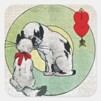 Amor del gato del vintage pegatina cuadrada