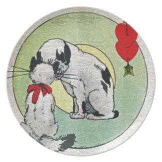Amor del gato del vintage plato de cena