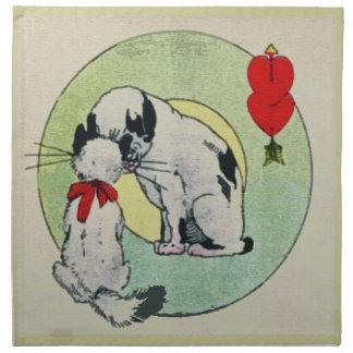 Amor del gato del vintage servilleta imprimida
