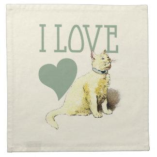 Amor del gato del vintage servilletas de papel