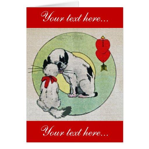 Amor del gato del vintage tarjeta de felicitación