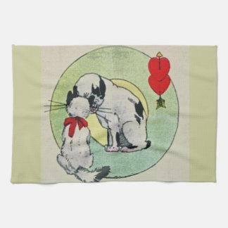 Amor del gato del vintage toalla de cocina