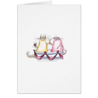 amor del gato - dibujo animado divertido, tarjetas