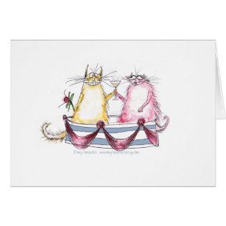 amor del gato - dibujo animado divertido, tarjeta de felicitación