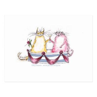 amor del gato - dibujo animado divertido, tarjetas postales