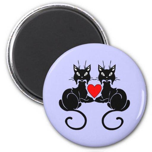 Amor del gato negro imán redondo 5 cm