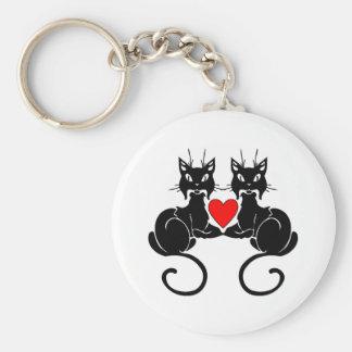 Amor del gato negro llavero redondo tipo pin