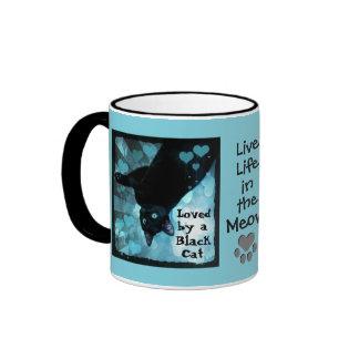 ¡Amor del gato negro! ¡Vida viva en el maullido! Taza De Dos Colores