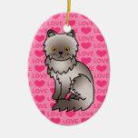 Amor del gato persa de la lila adorno de navidad