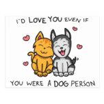 Amor del gato y del perro postales