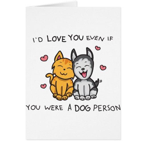 Amor del gato y del perro tarjetón