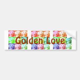Amor del golden retriever pegatina para auto
