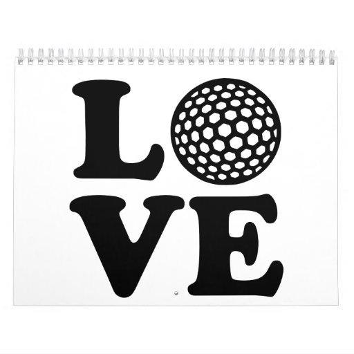 Amor del golf calendarios de pared