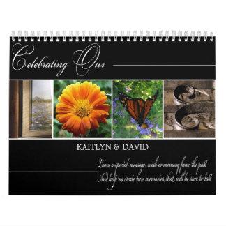 AMOR del Guestbook del boda en fotografía del alfa Calendario