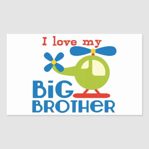 Amor del helicóptero I mi hermano mayor Pegatina Rectangular