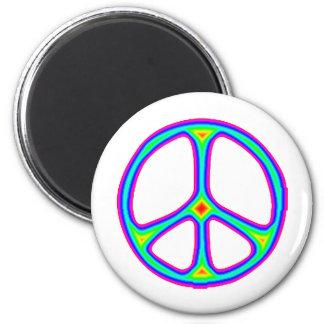 Amor del Hippie de los años 60 del signo de la paz Imán Redondo 5 Cm