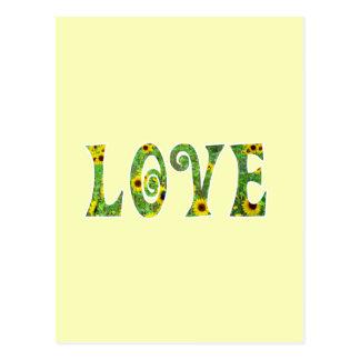 Amor del hippy del girasol tarjeta postal