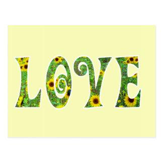 Amor del hippy del girasol tarjetas postales